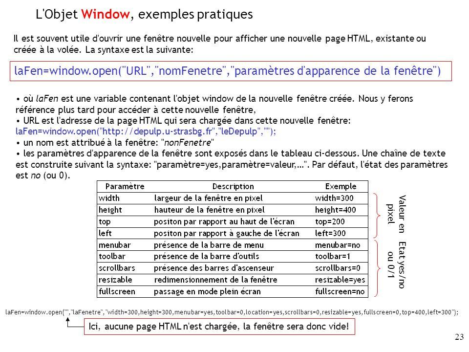 L Objet Window, exemples pratiques
