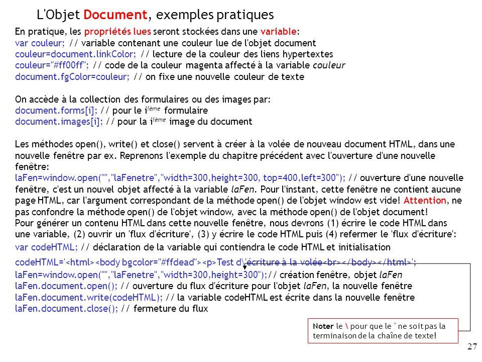 L Objet Document, exemples pratiques