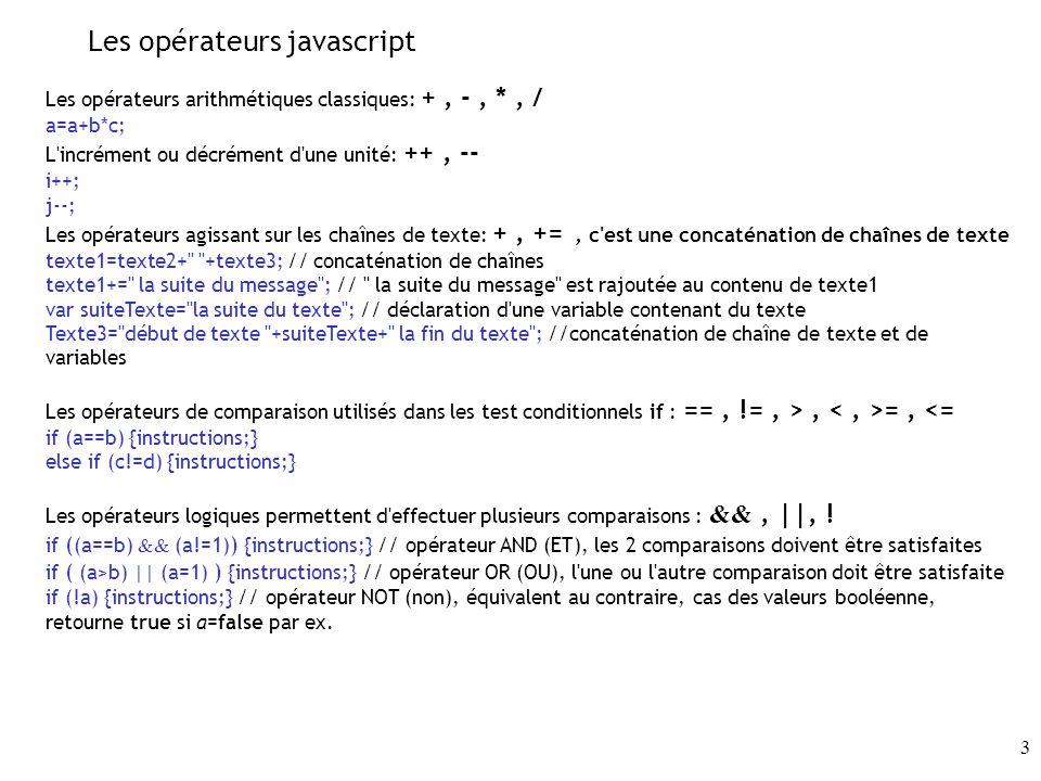 Les opérateurs javascript