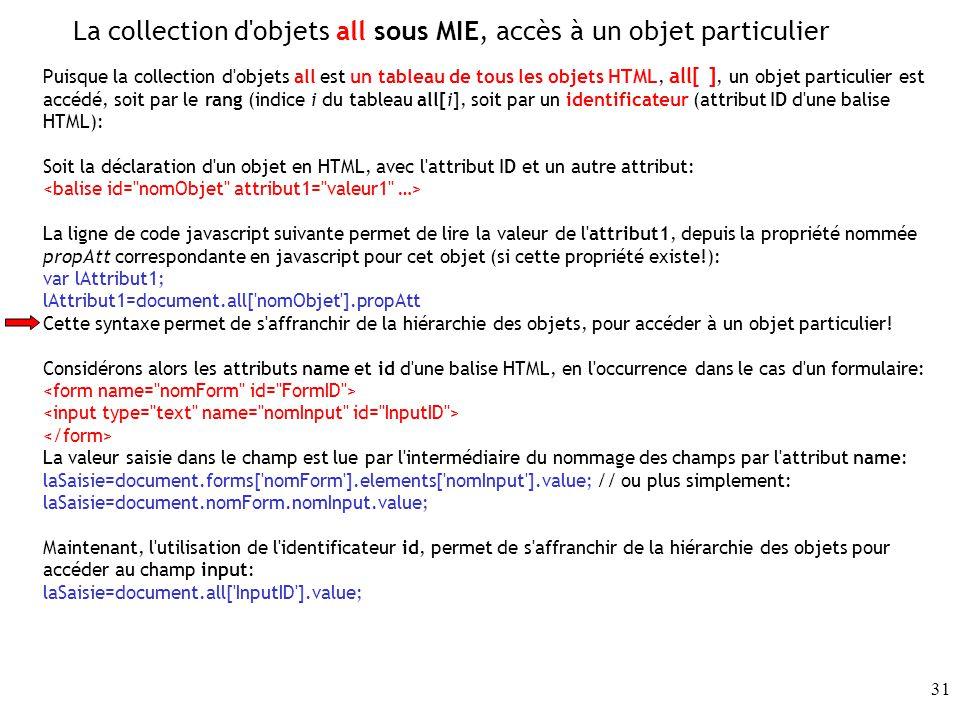 La collection d objets all sous MIE, accès à un objet particulier
