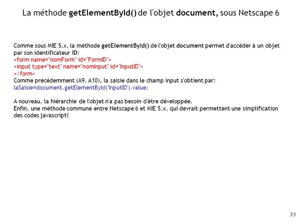 La méthode getElementById() de l objet document, sous Netscape 6