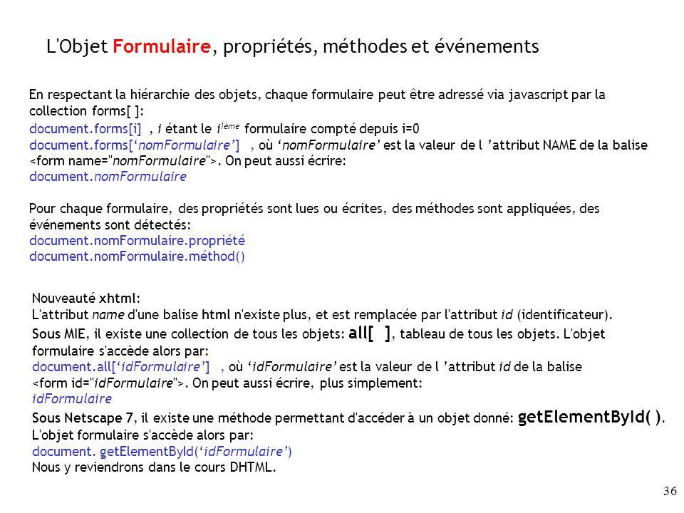 L Objet Formulaire, propriétés, méthodes et événements