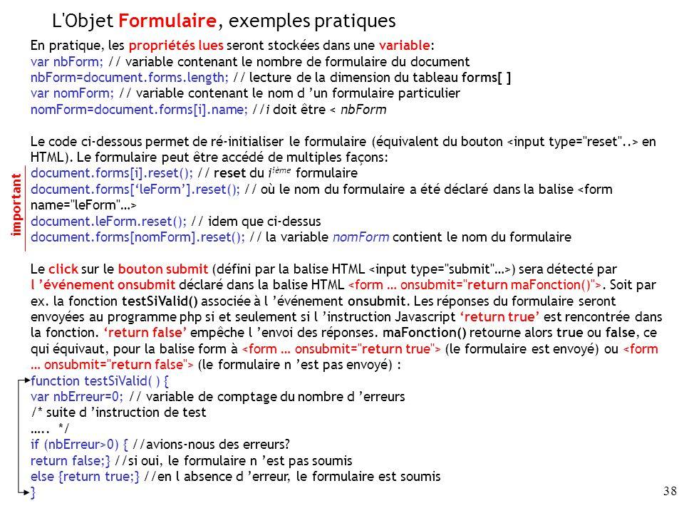 L Objet Formulaire, exemples pratiques