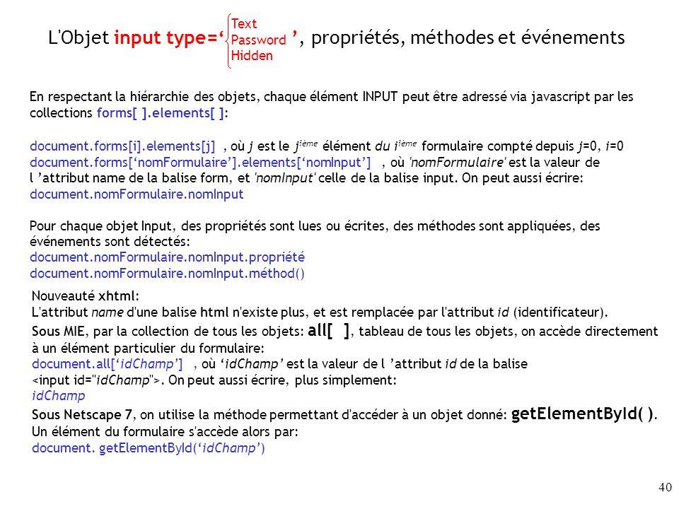 L Objet input type=' ', propriétés, méthodes et événements