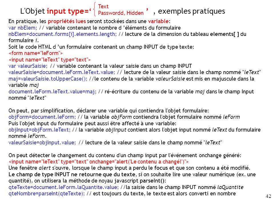 L Objet input type=' ' , exemples pratiques