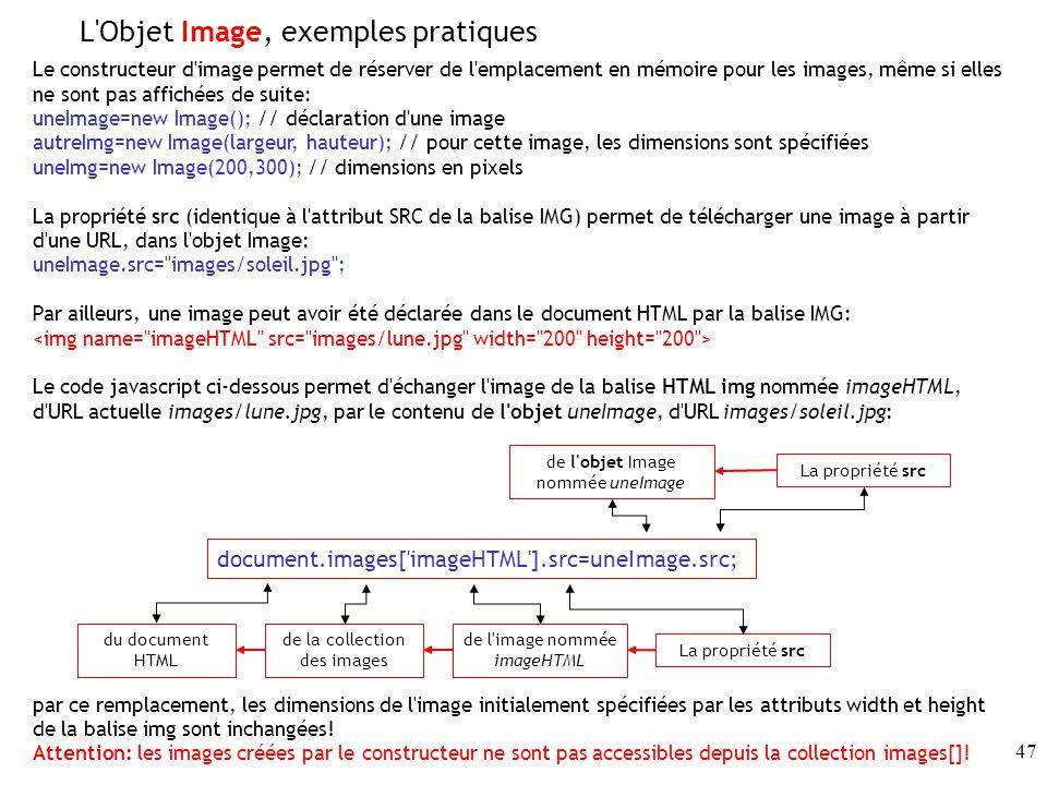 L Objet Image, exemples pratiques