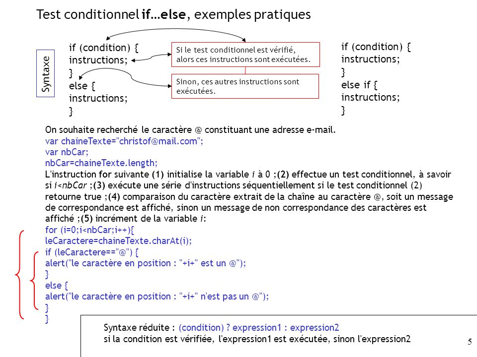 Test conditionnel if…else, exemples pratiques