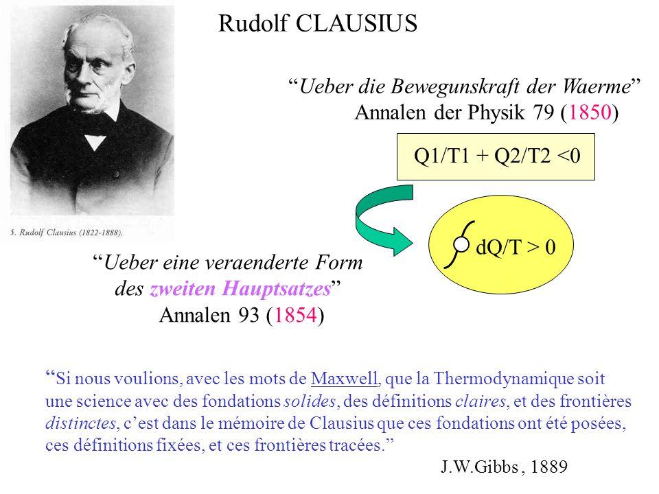 Rudolf CLAUSIUS Ueber die Bewegunskraft der Waerme