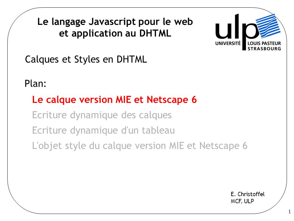 Le langage Javascript pour le web et application au DHTML