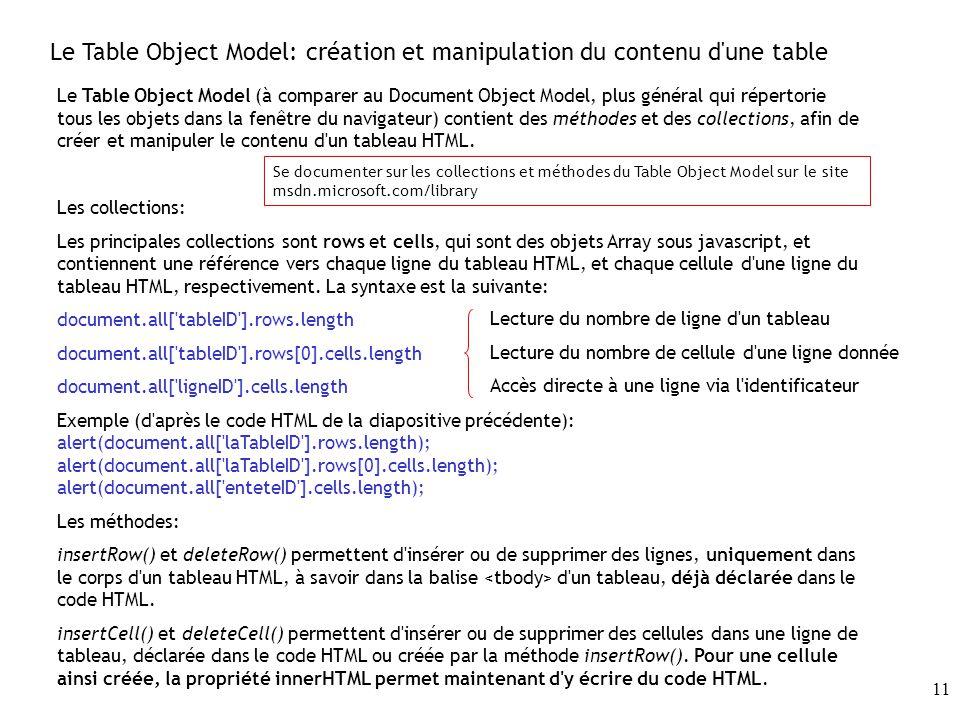 Le Table Object Model: création et manipulation du contenu d une table