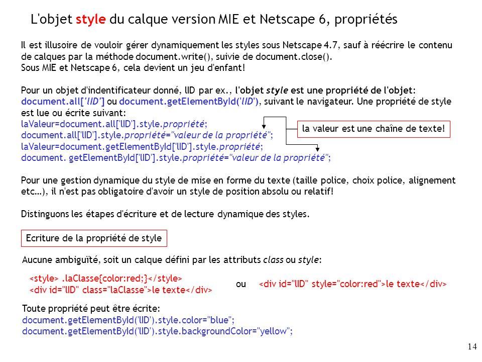 L objet style du calque version MIE et Netscape 6, propriétés