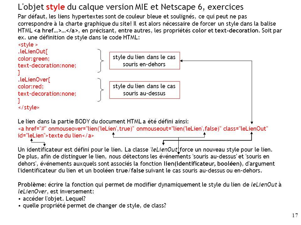 L objet style du calque version MIE et Netscape 6, exercices