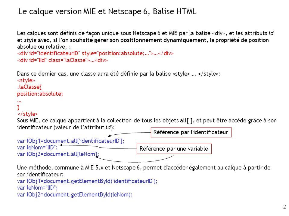 Le calque version MIE et Netscape 6, Balise HTML
