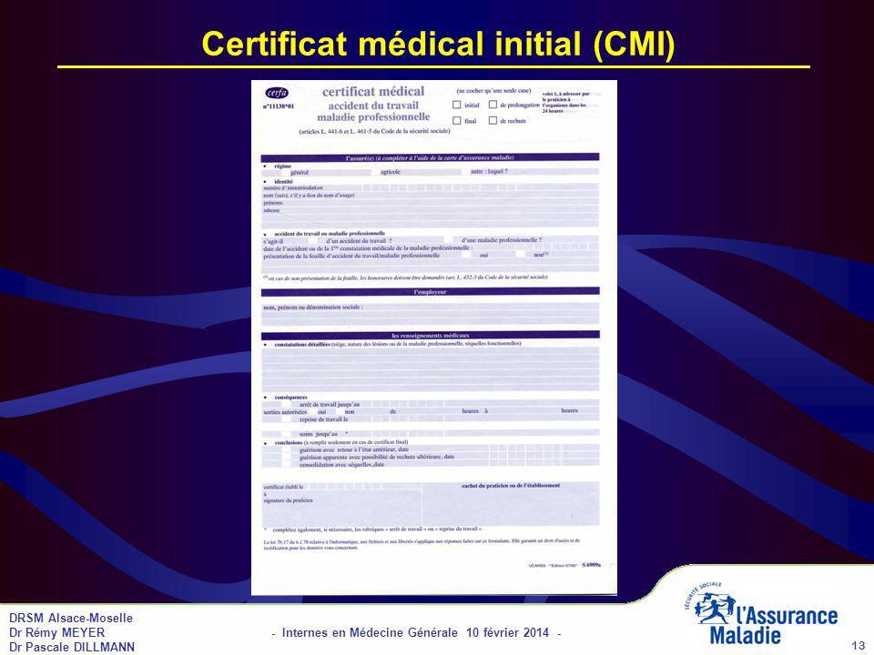 Certificat médical initial (CMI)