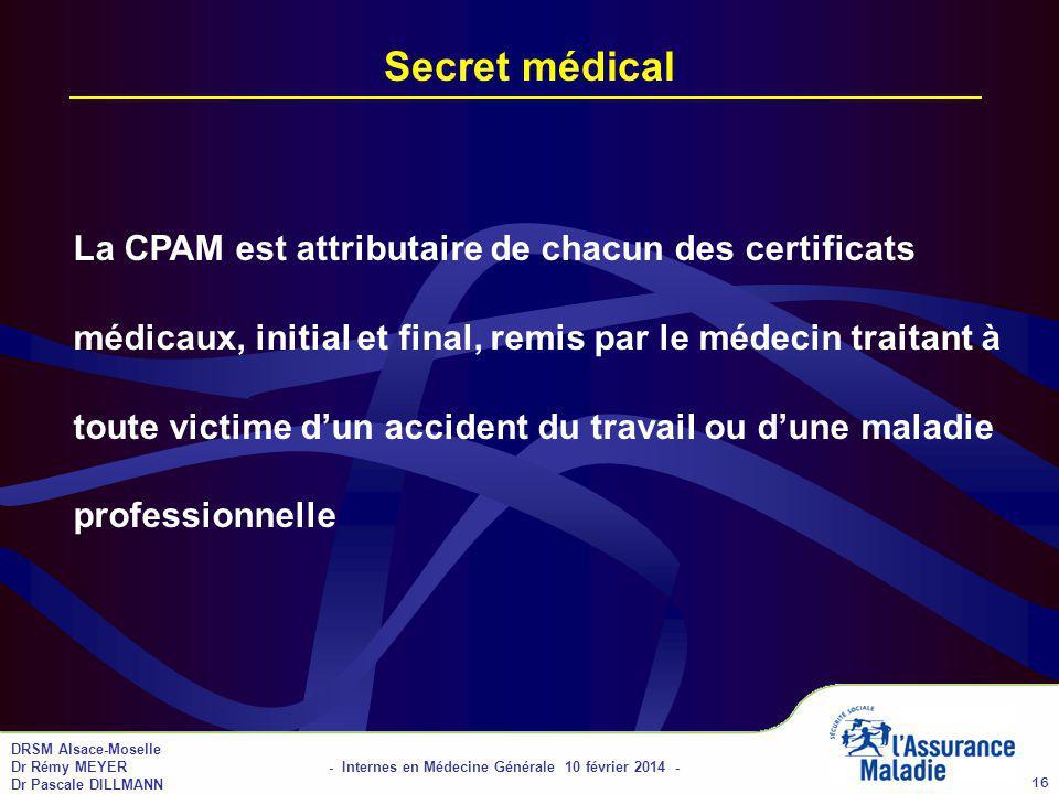 01/04/2017 Secret médical.
