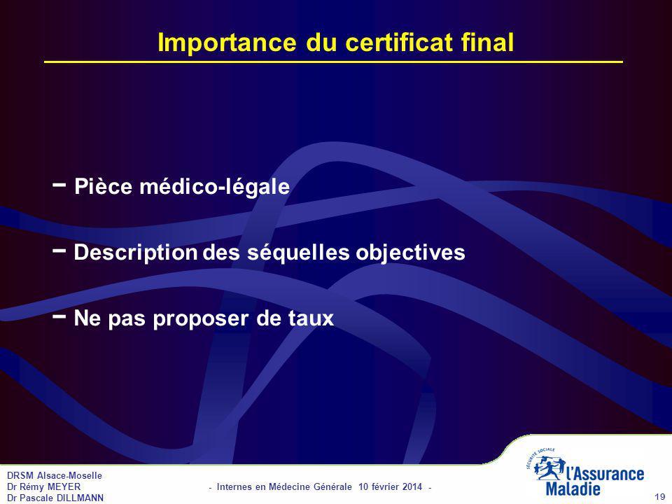 Importance du certificat final