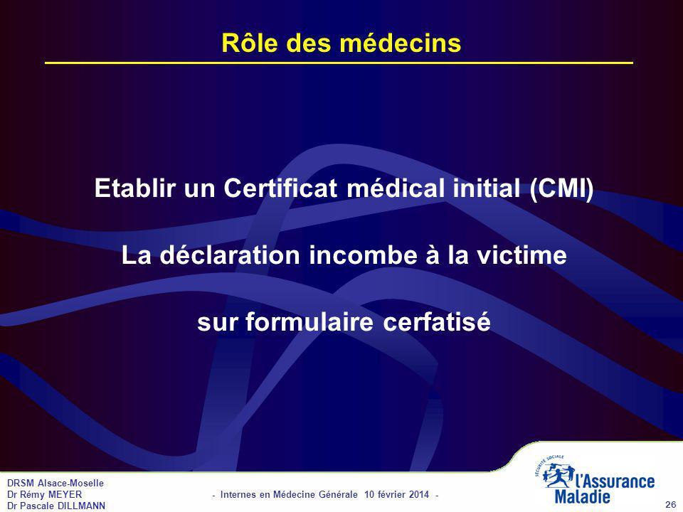 01/04/2017 Rôle des médecins. Etablir un Certificat médical initial (CMI) La déclaration incombe à la victime sur formulaire cerfatisé.
