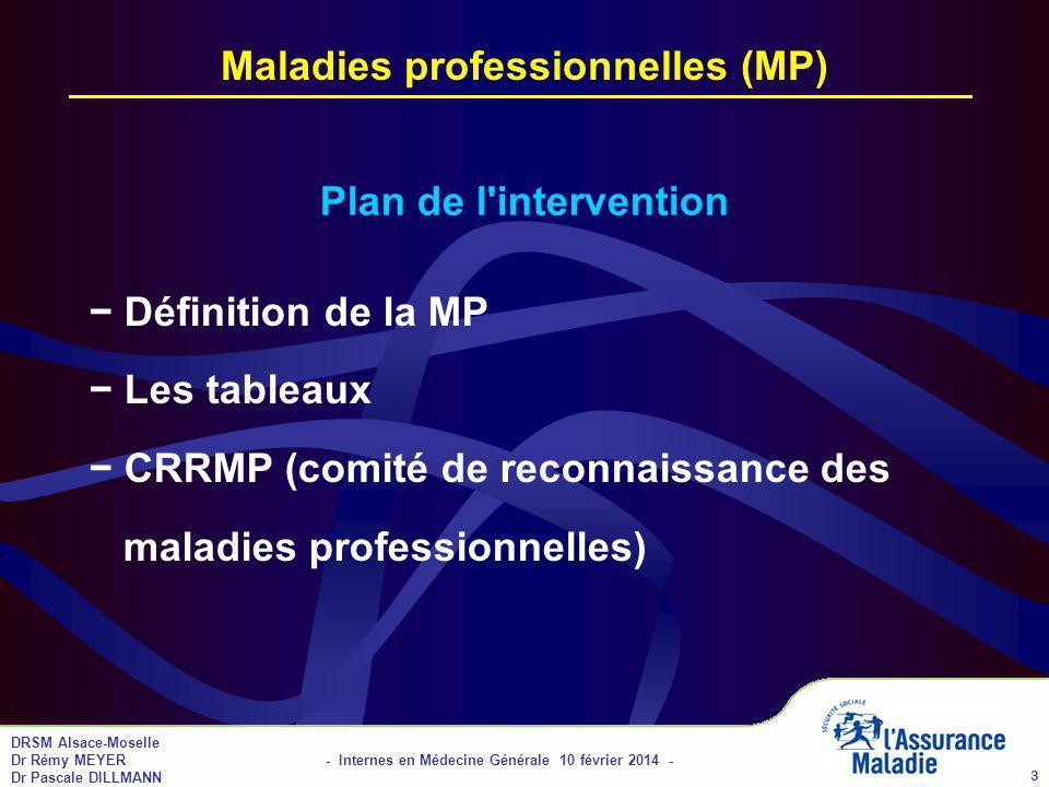 Maladies professionnelles (MP)
