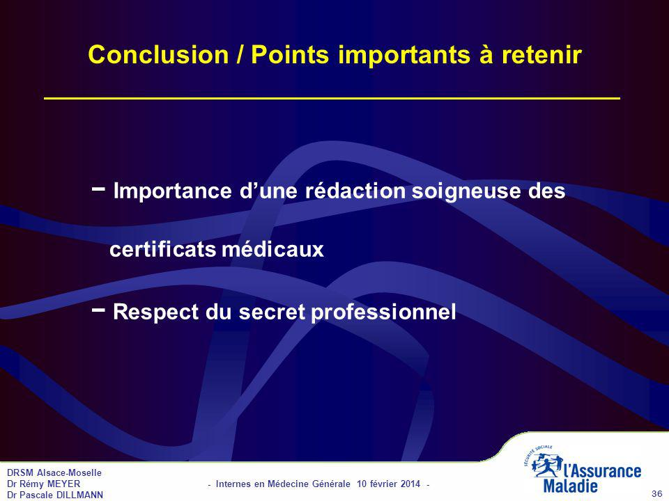 Conclusion / Points importants à retenir