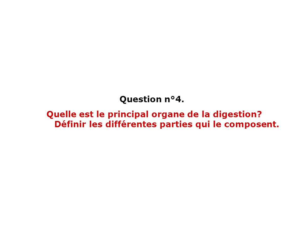 Question n°4. Quelle est le principal organe de la digestion.
