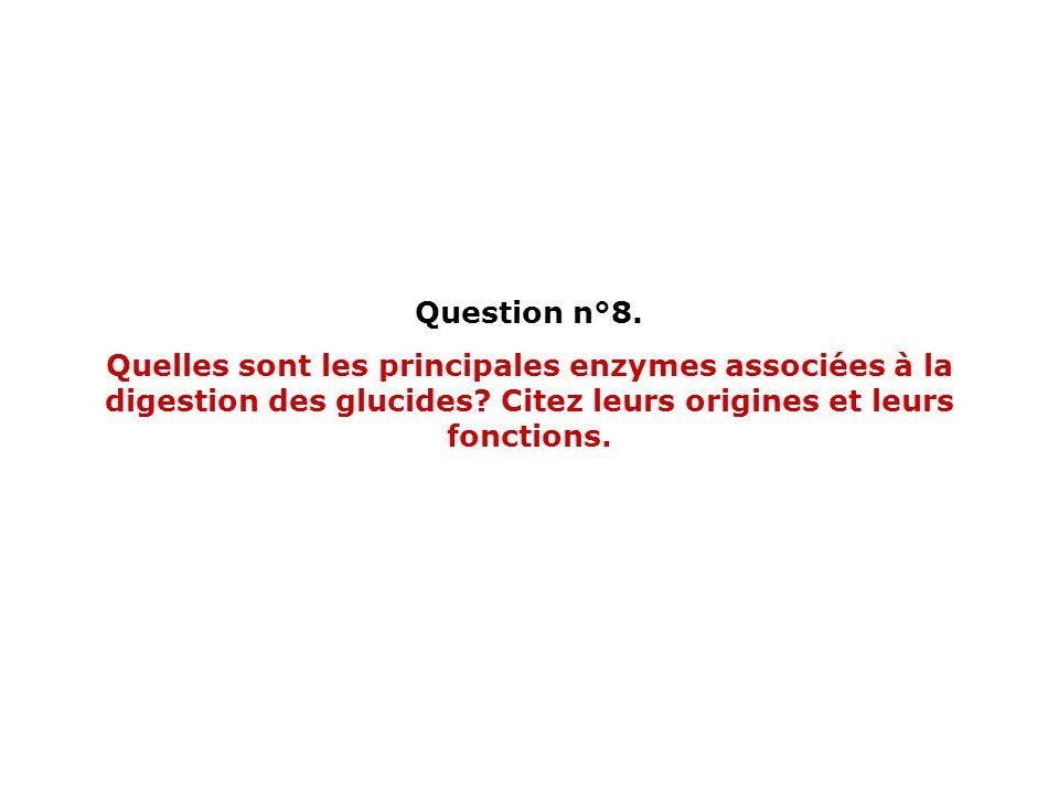 Question n°8. Quelles sont les principales enzymes associées à la digestion des glucides.