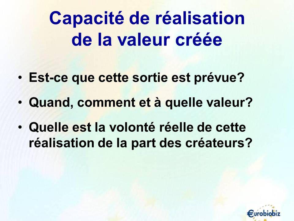 Capacité de réalisation de la valeur créée