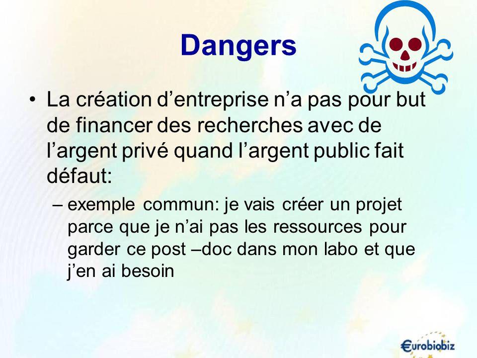 Dangers La création d'entreprise n'a pas pour but de financer des recherches avec de l'argent privé quand l'argent public fait défaut:
