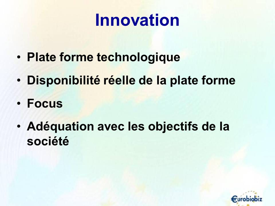 Innovation Plate forme technologique