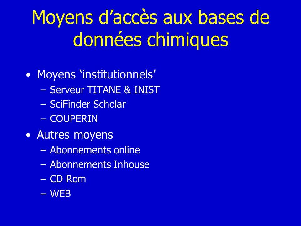 Moyens d'accès aux bases de données chimiques