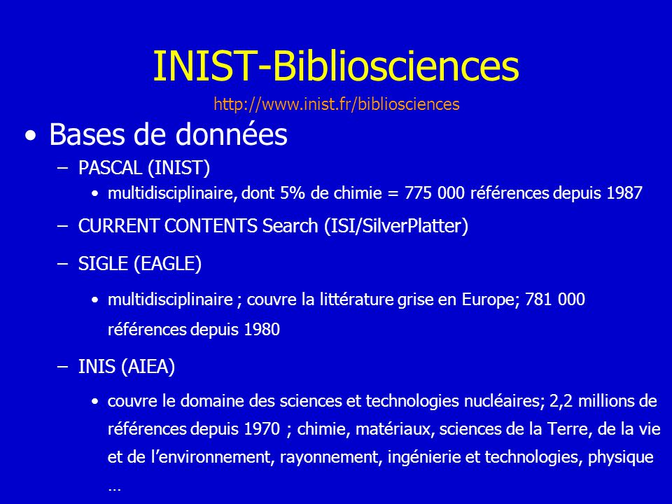INIST-Bibliosciences