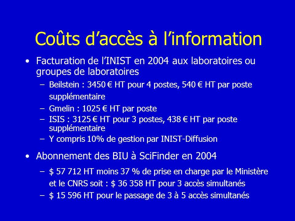 Coûts d'accès à l'information
