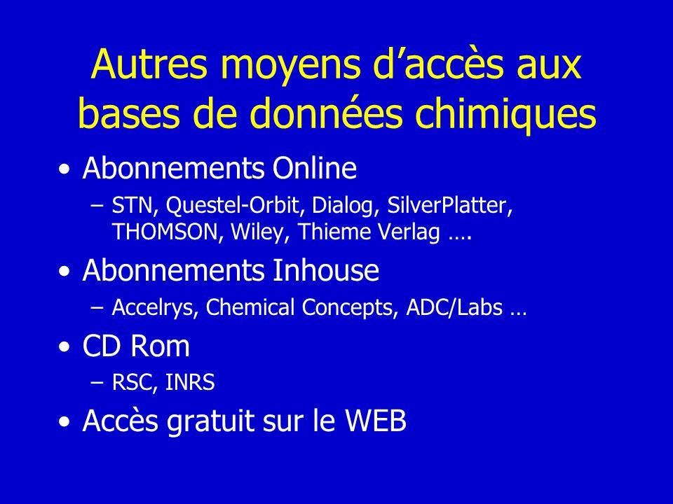 Autres moyens d'accès aux bases de données chimiques