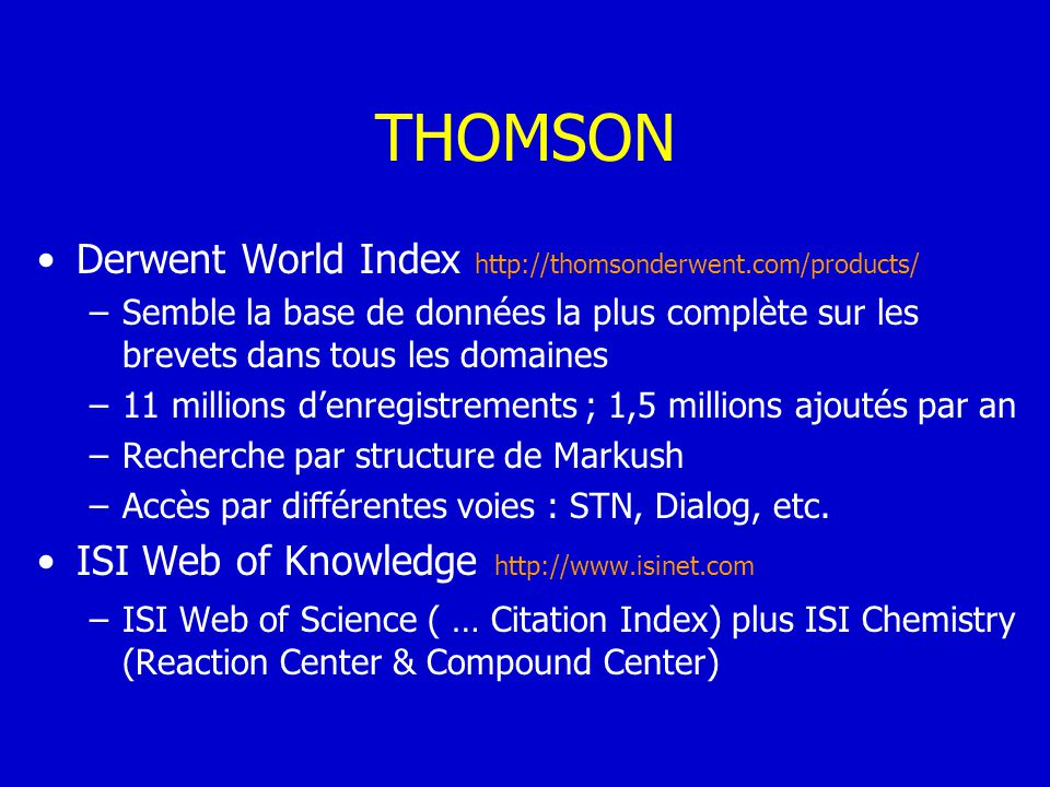 THOMSON Derwent World Index http://thomsonderwent.com/products/