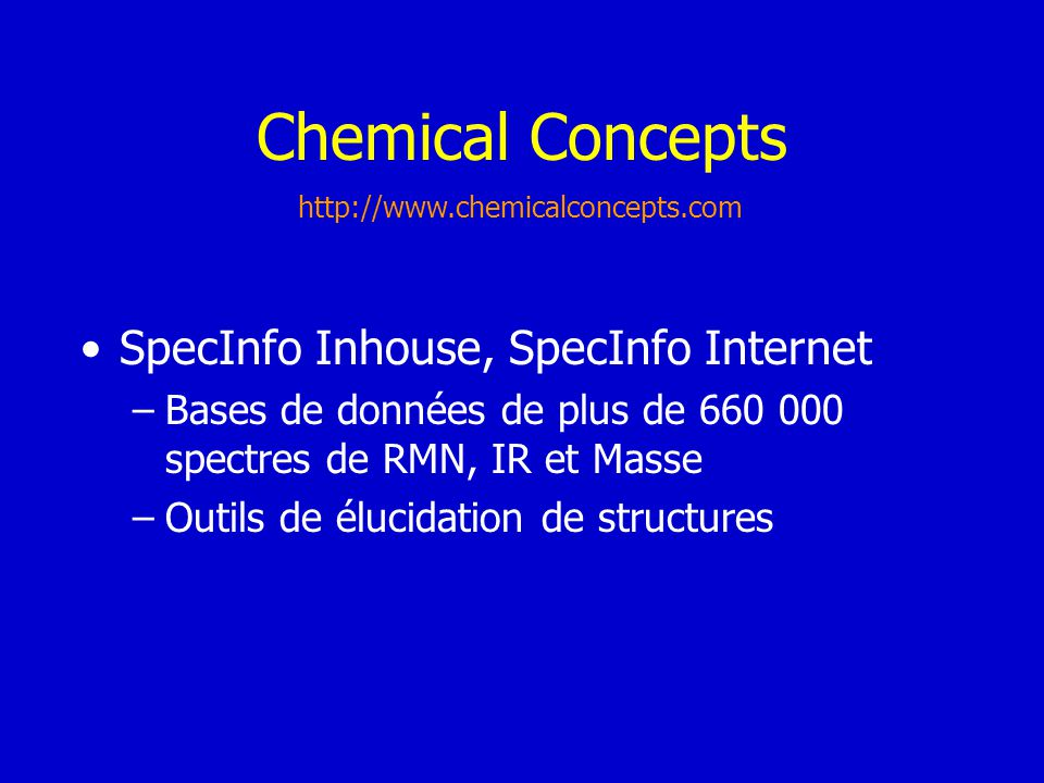 Chemical Concepts SpecInfo Inhouse, SpecInfo Internet