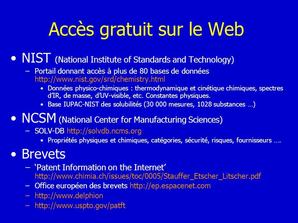 Accès gratuit sur le Web
