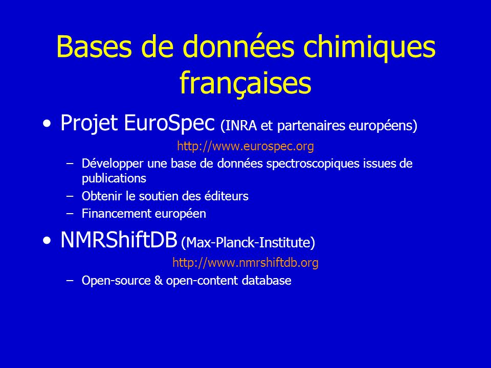 Bases de données chimiques françaises