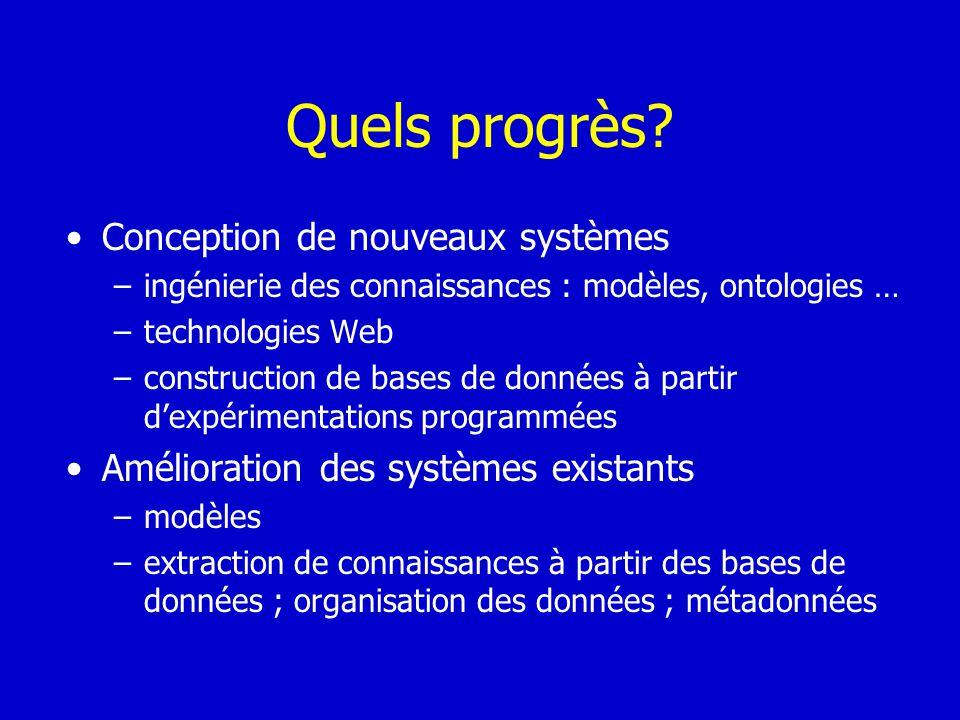 Quels progrès Conception de nouveaux systèmes