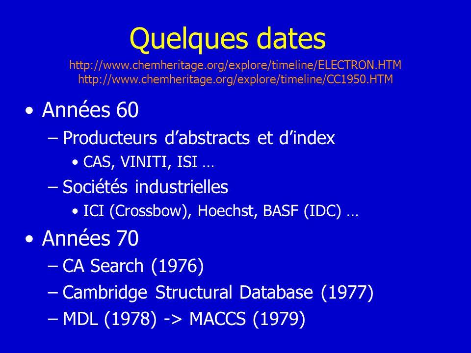 Quelques dates Années 60 Années 70 Producteurs d'abstracts et d'index