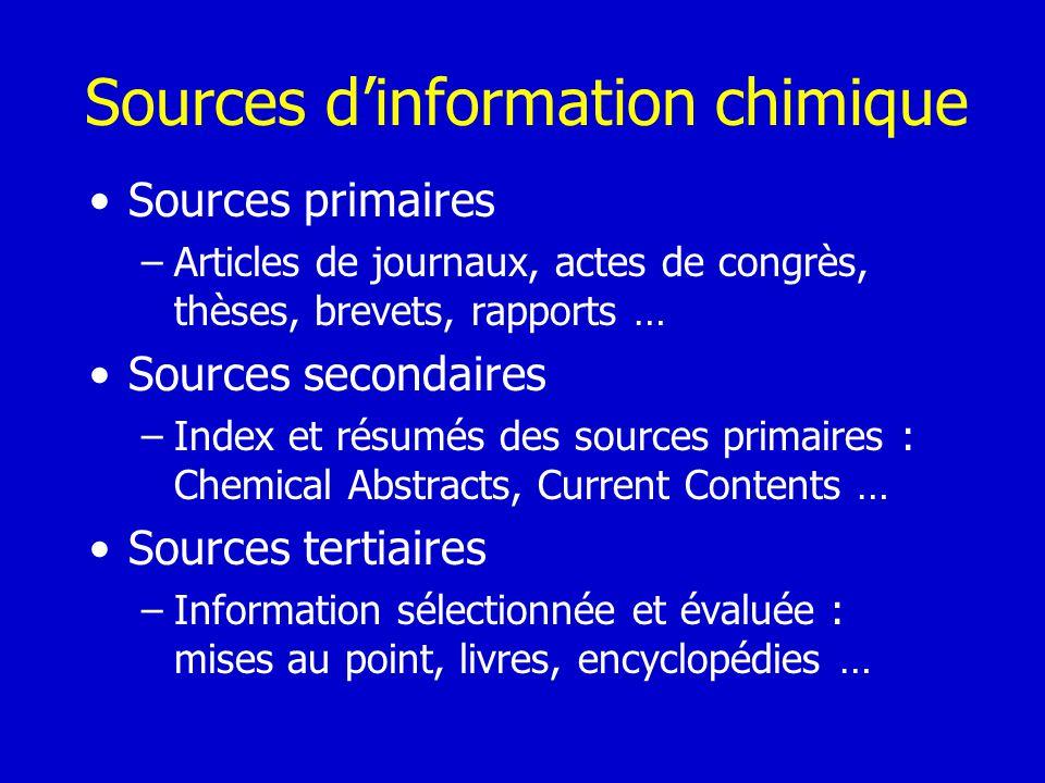 Sources d'information chimique