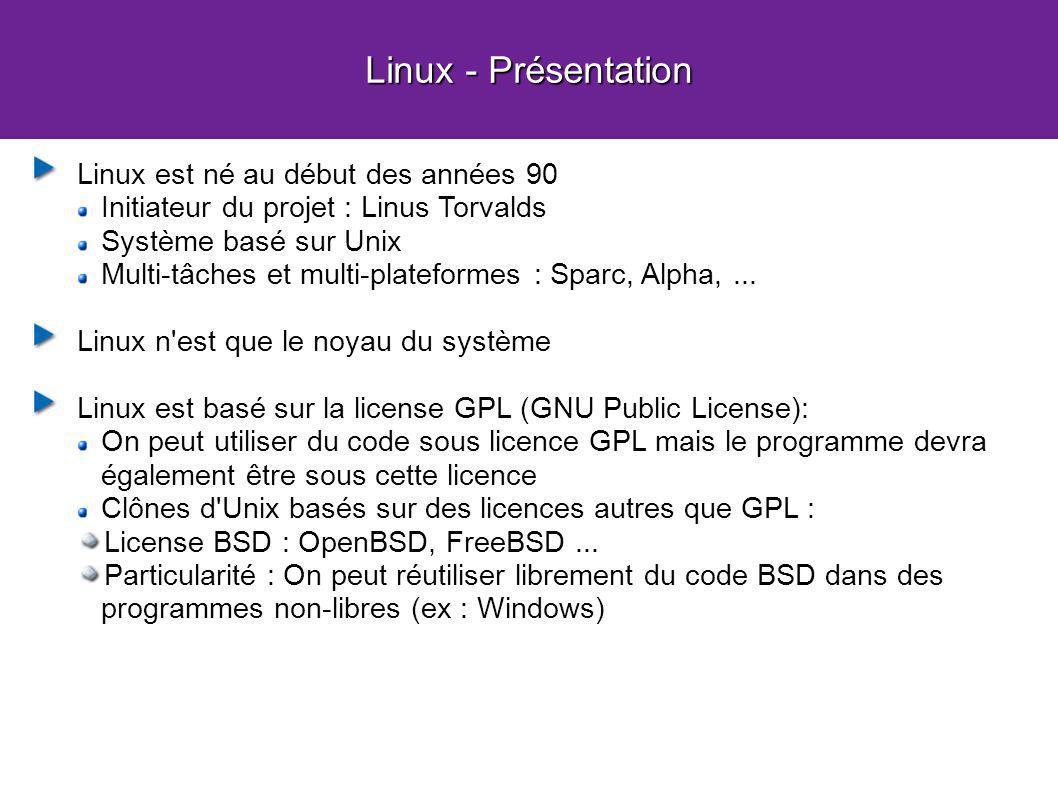 Linux - Présentation Linux est né au début des années 90