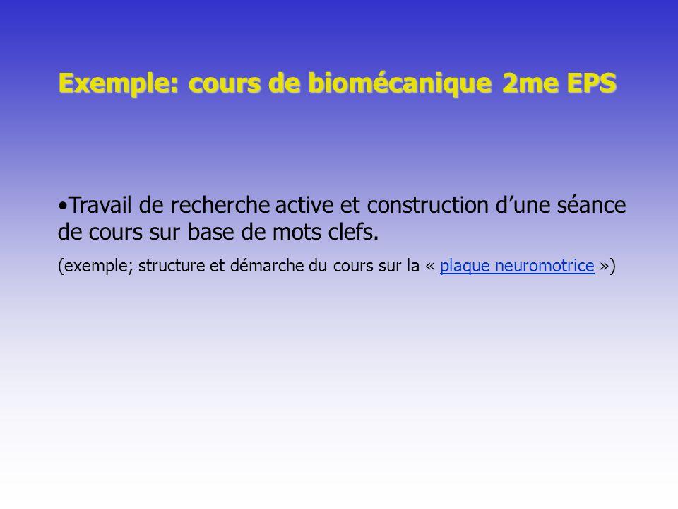 Exemple: cours de biomécanique 2me EPS