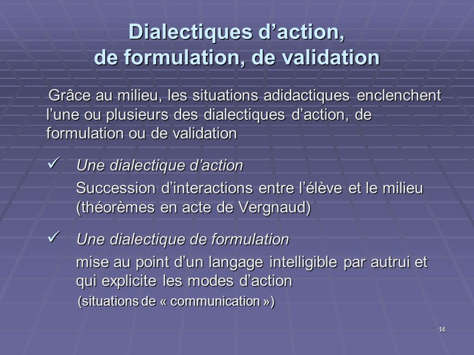 Dialectiques d'action, de formulation, de validation