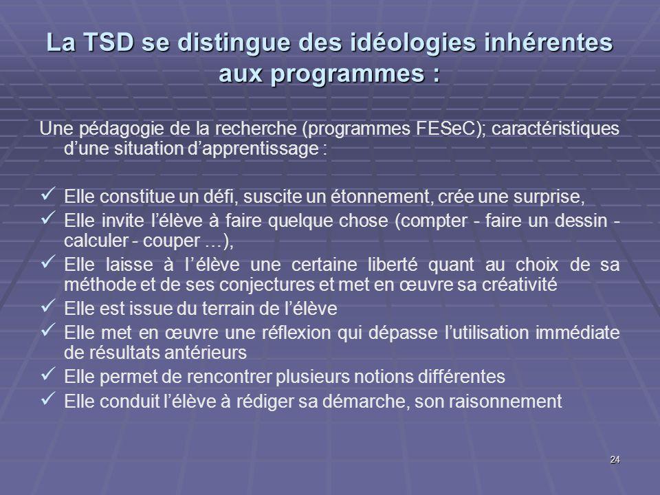 La TSD se distingue des idéologies inhérentes aux programmes :