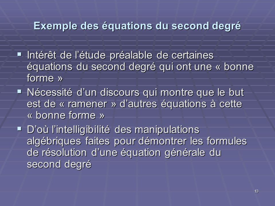 Exemple des équations du second degré