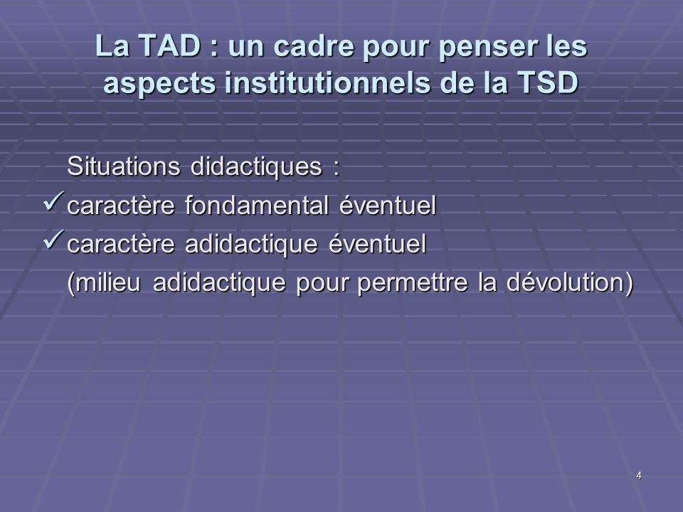La TAD : un cadre pour penser les aspects institutionnels de la TSD