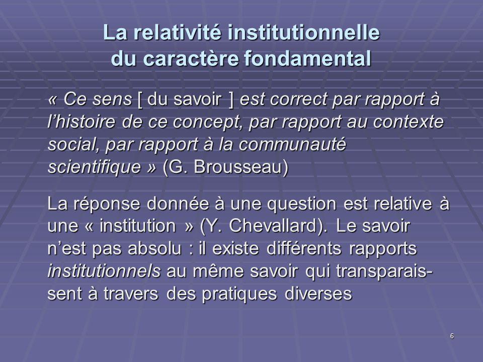 La relativité institutionnelle du caractère fondamental