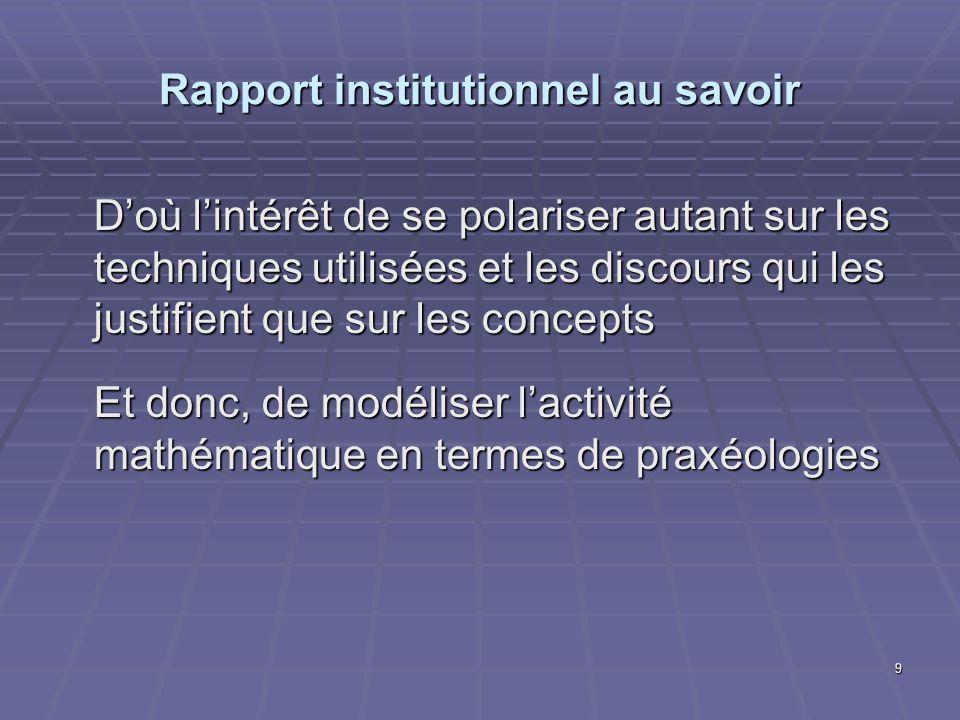 Rapport institutionnel au savoir