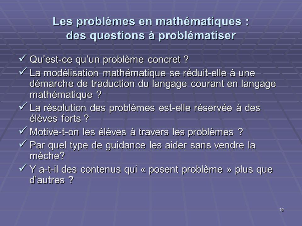 Les problèmes en mathématiques : des questions à problématiser