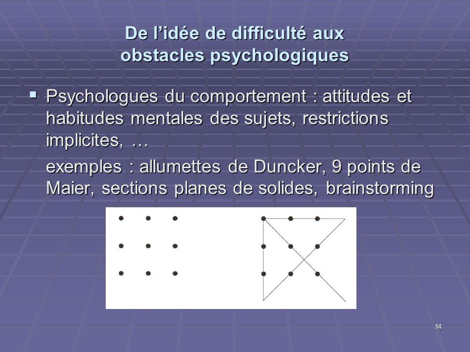De l'idée de difficulté aux obstacles psychologiques