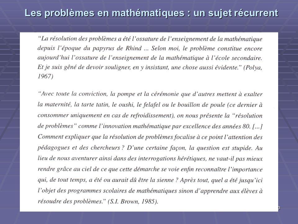 Les problèmes en mathématiques : un sujet récurrent